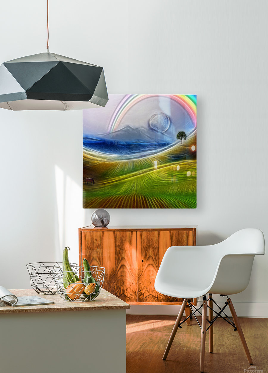 Painterly Peaceful Landscape  HD Metal print with Floating Frame on Back