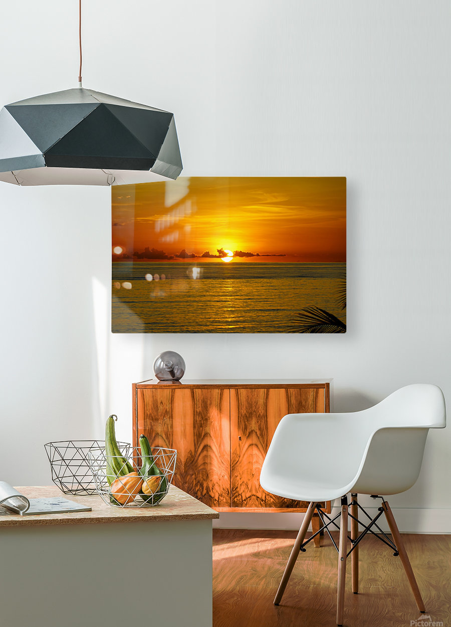 Sun rising on the ocean  HD Metal print with Floating Frame on Back