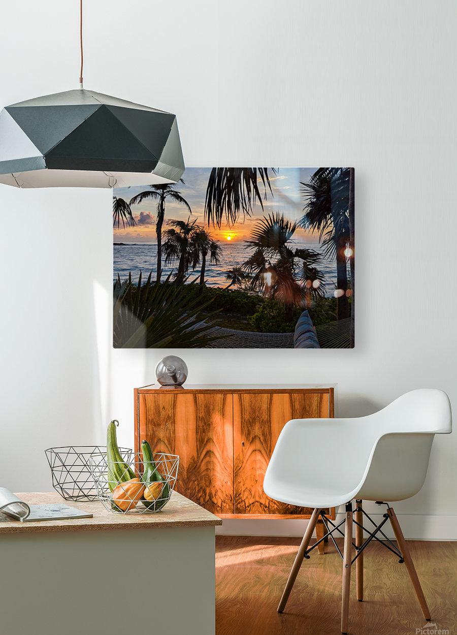Eleuthera Sunrise on the Hammock  HD Metal print with Floating Frame on Back
