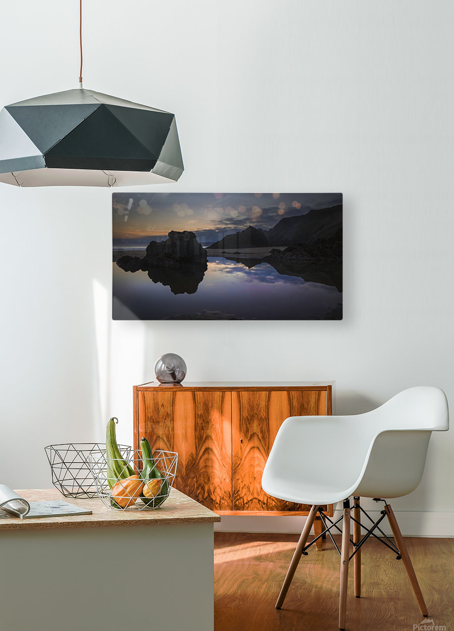 Rockpool reflections at sunset  HD Metal print with Floating Frame on Back
