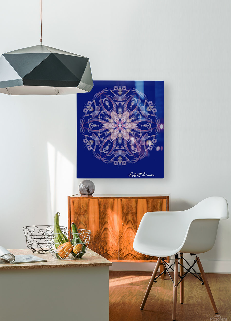 Limited Edition - Blue Graphic Art Healing Mandala 1005  HD Metal print with Floating Frame on Back