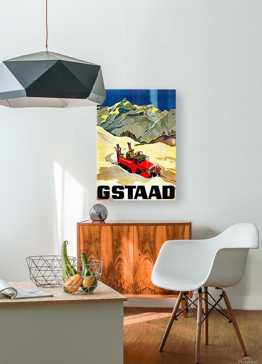 Vintage Travel - Gstaad  HD Metal print with Floating Frame on Back