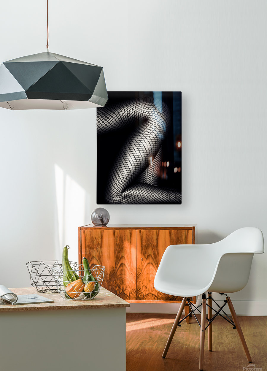 Legs in Fishnet Stockings 2  HD Metal print with Floating Frame on Back