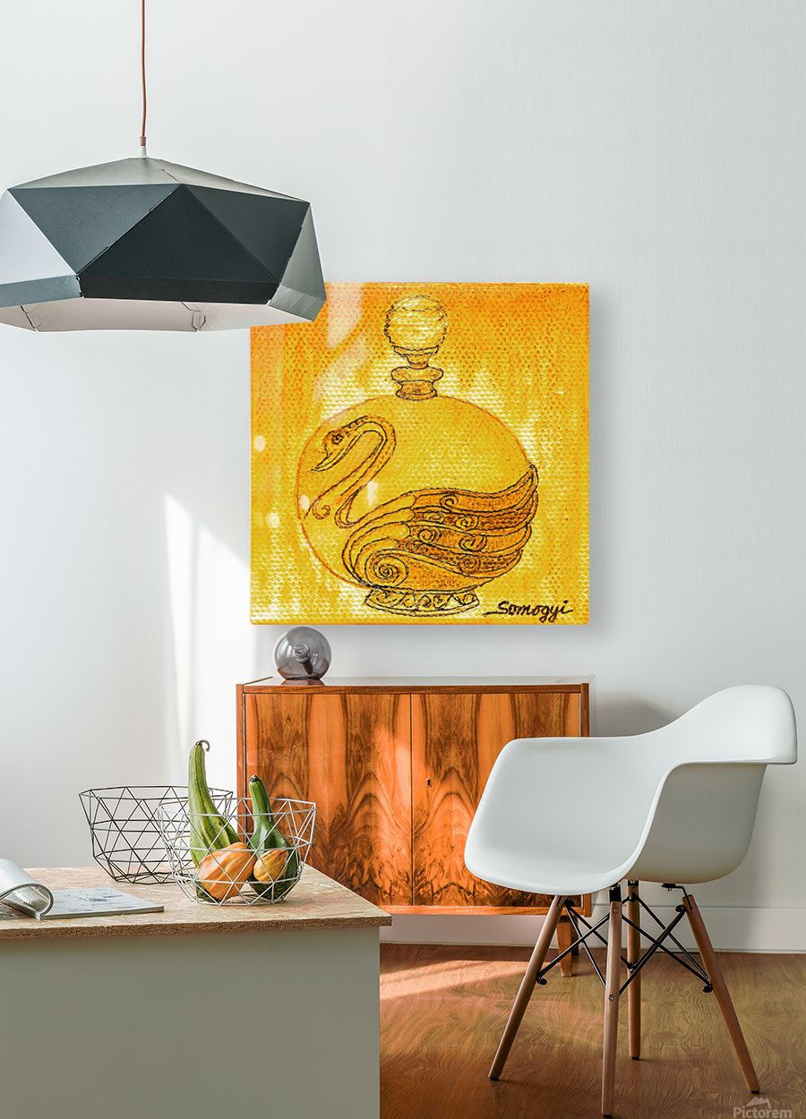 Bottled Gold Swan  HD Metal print with Floating Frame on Back