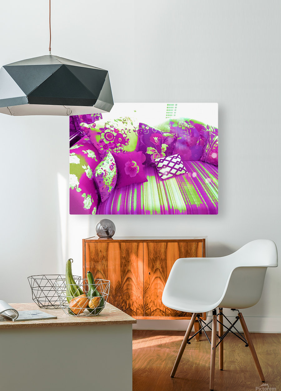 Sofa & Pillows -- Purple & Green  HD Metal print with Floating Frame on Back