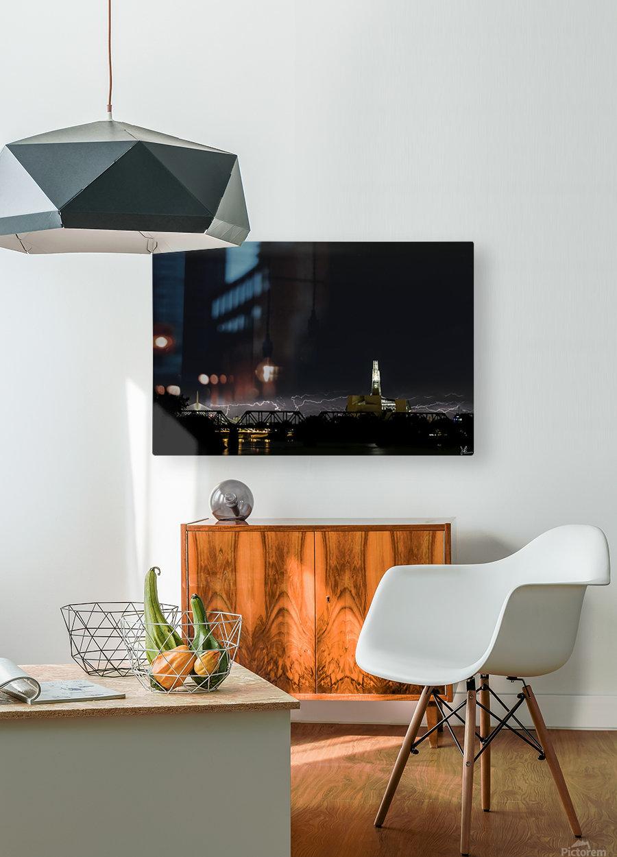 Winnipeg Skyline Storm  HD Metal print with Floating Frame on Back