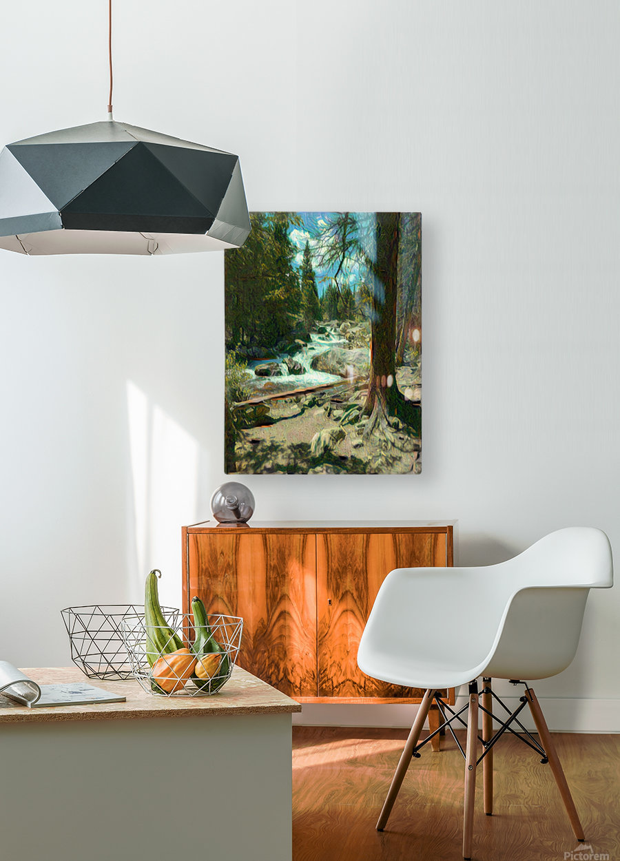 Rocky Mountain waterfall  HD Metal print with Floating Frame on Back