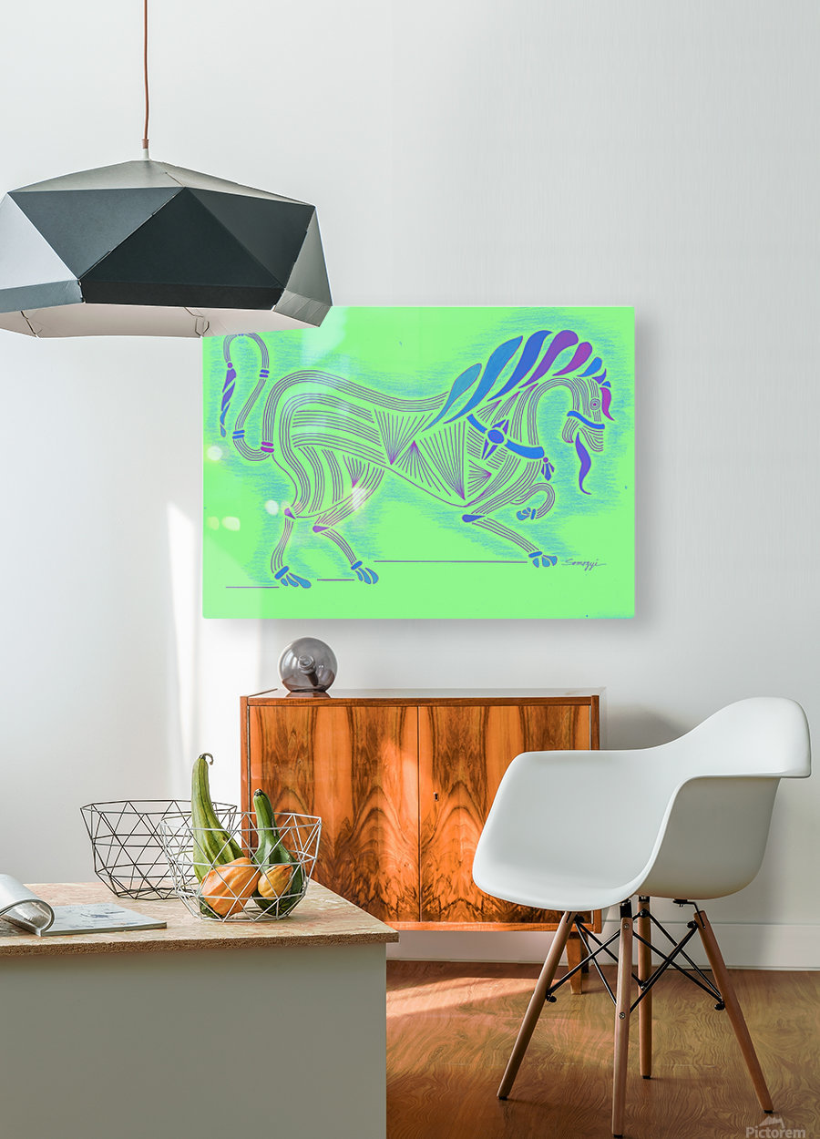 RARIN' TO GO--Blue on Green  HD Metal print with Floating Frame on Back