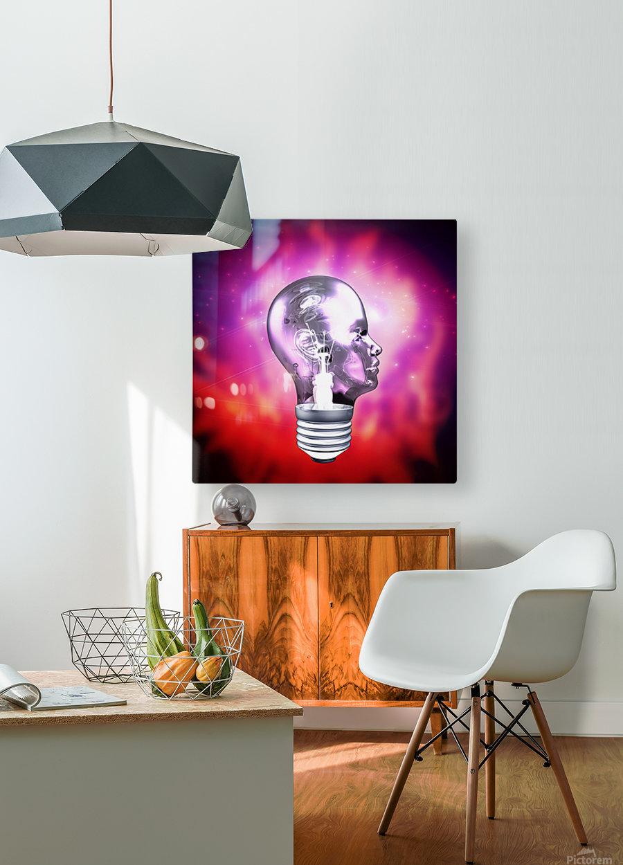 Human Light Bulb Head  HD Metal print with Floating Frame on Back