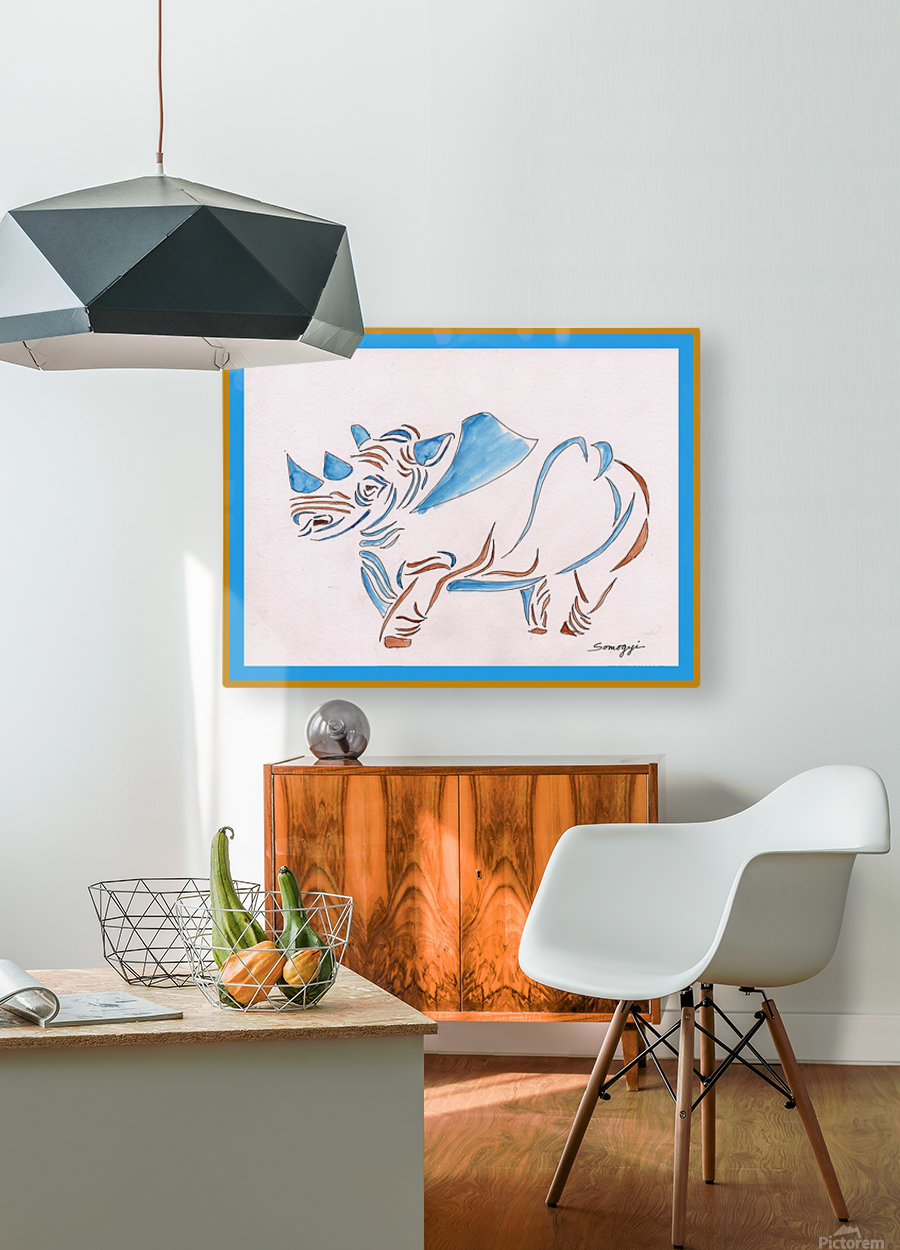 Do Rhinos Come in Blue  HD Metal print with Floating Frame on Back