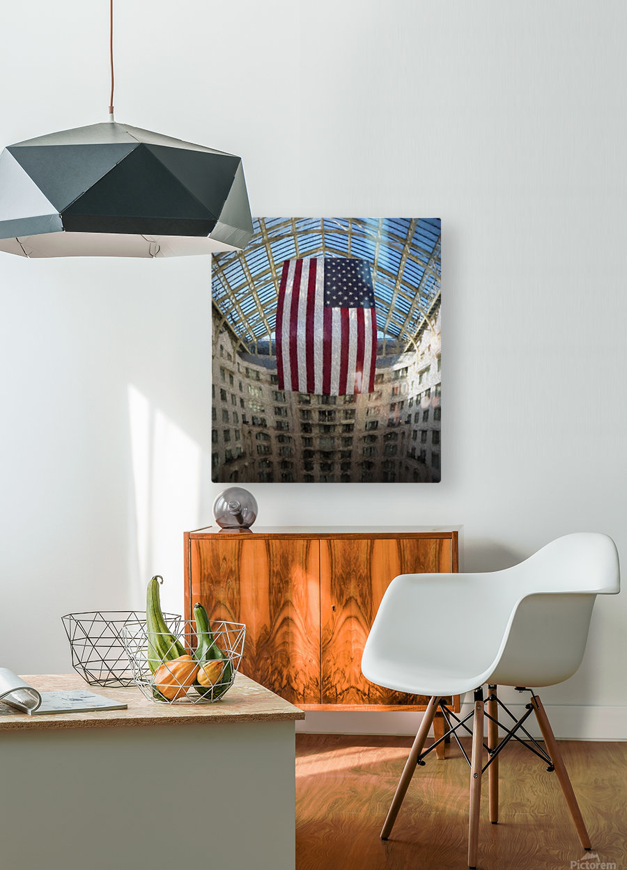 United States Flag  HD Metal print with Floating Frame on Back