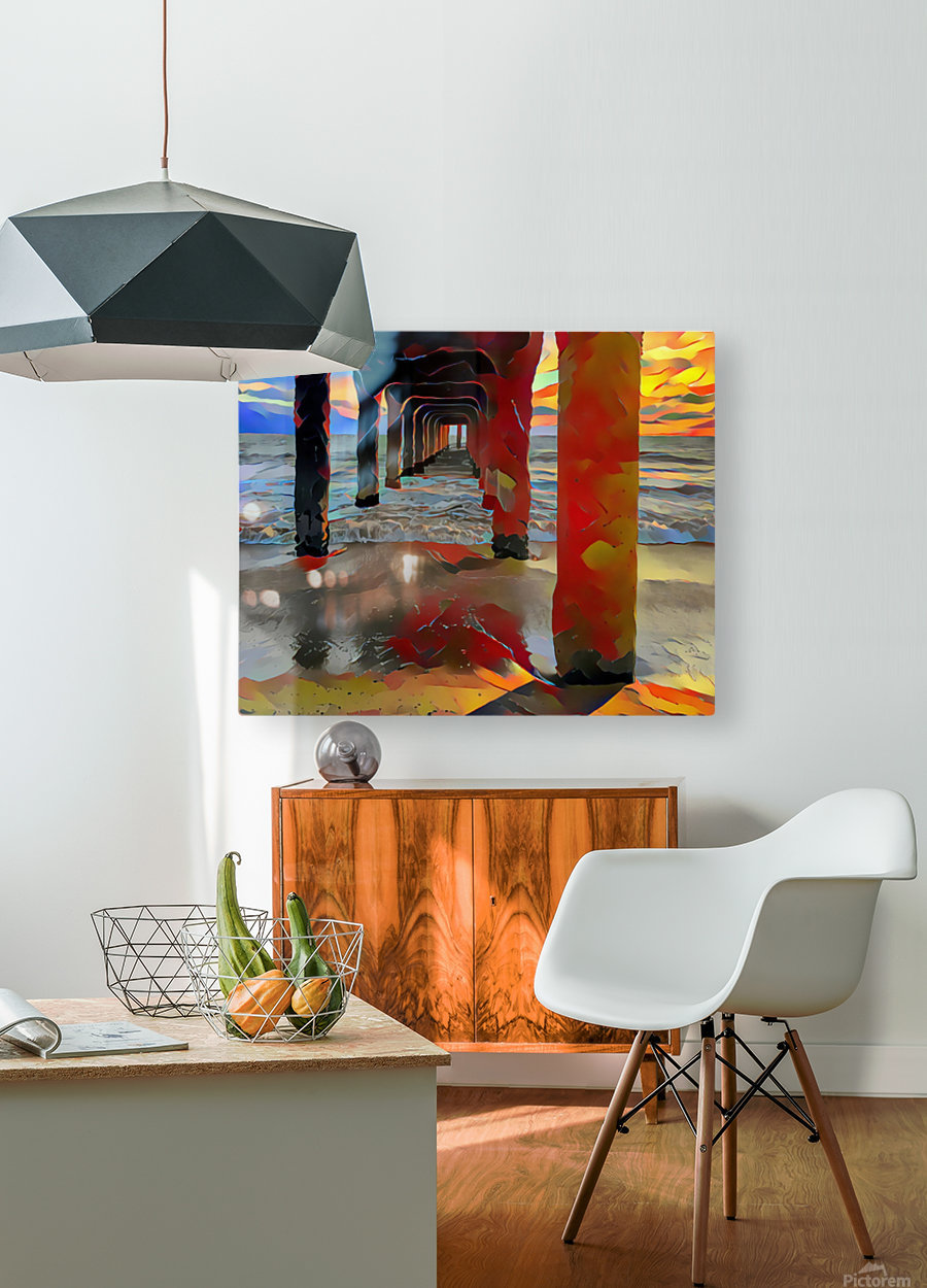 Hermosa beach pier  HD Metal print with Floating Frame on Back