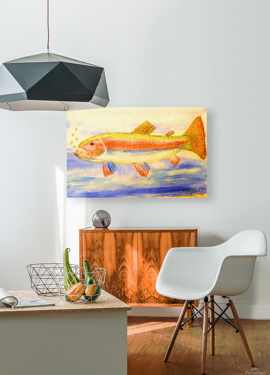 Rainbow Trout  HD Metal print with Floating Frame on Back