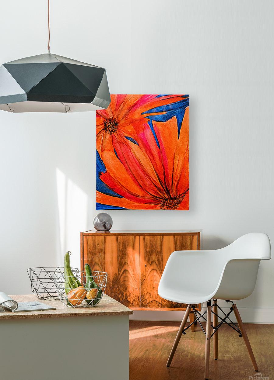 Orange Flowers   HD Metal print with Floating Frame on Back