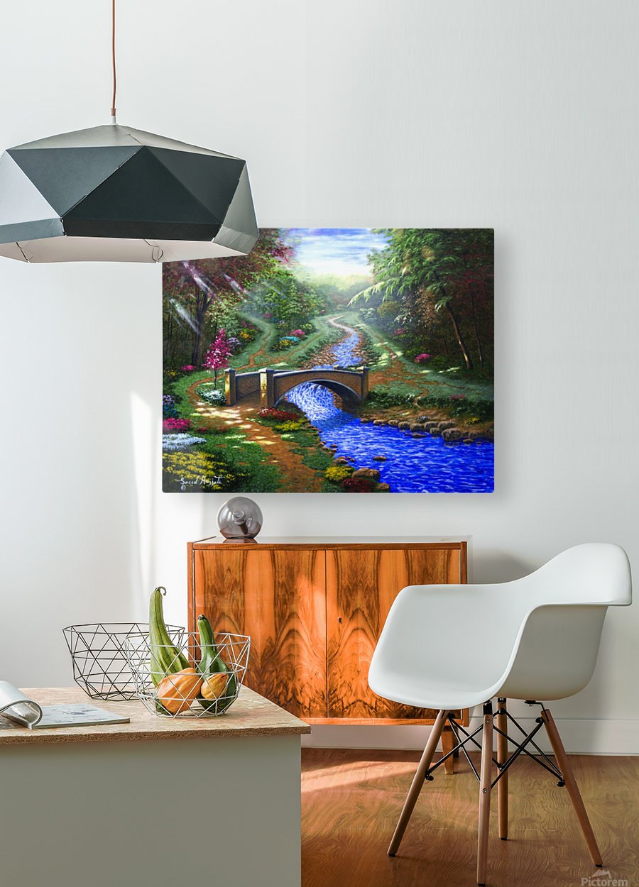 Forest Stream  HD Metal print with Floating Frame on Back