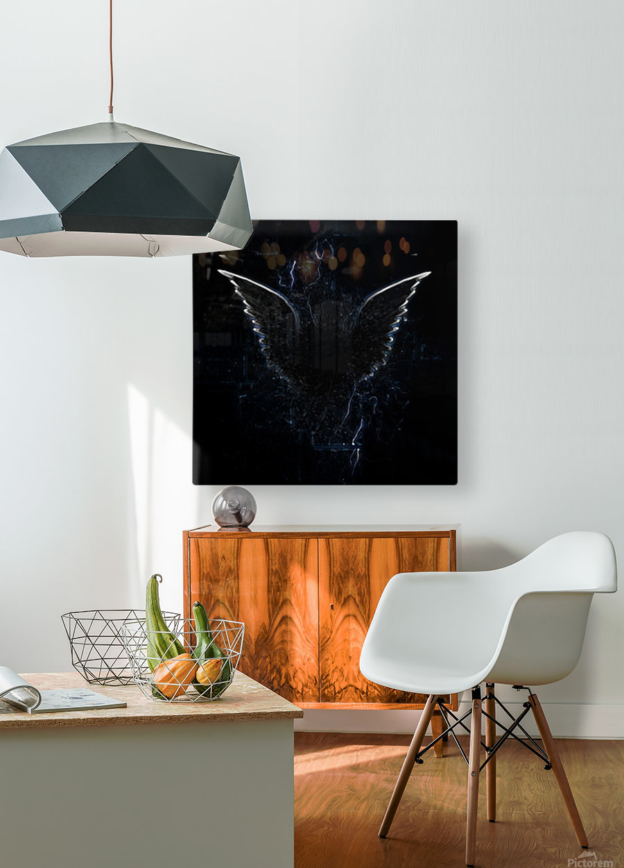 Outline of Winged Creature  HD Metal print with Floating Frame on Back
