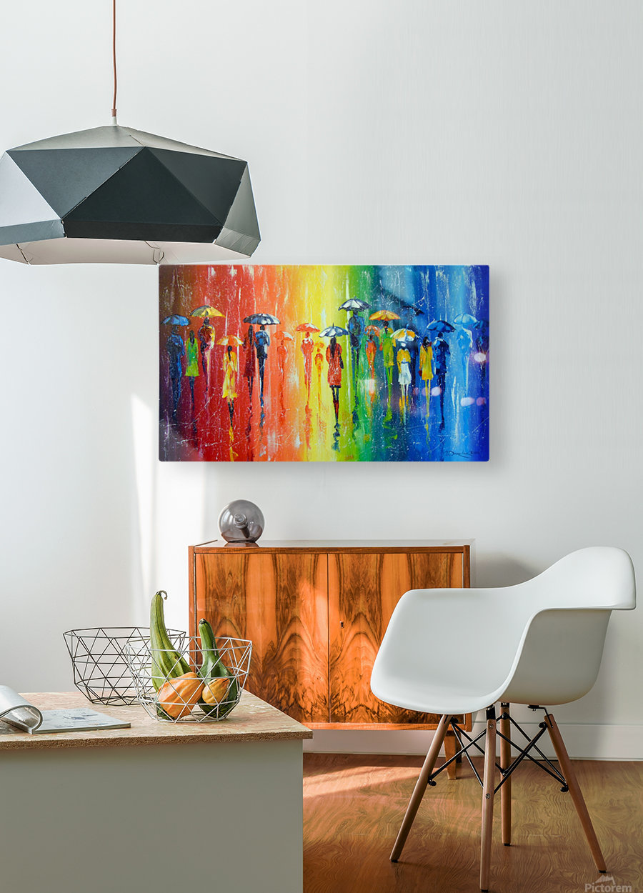 Bright rain  HD Metal print with Floating Frame on Back