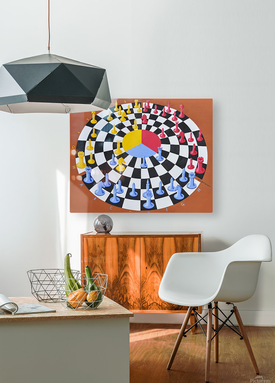Chess-3-bounce  HD Metal print with Floating Frame on Back