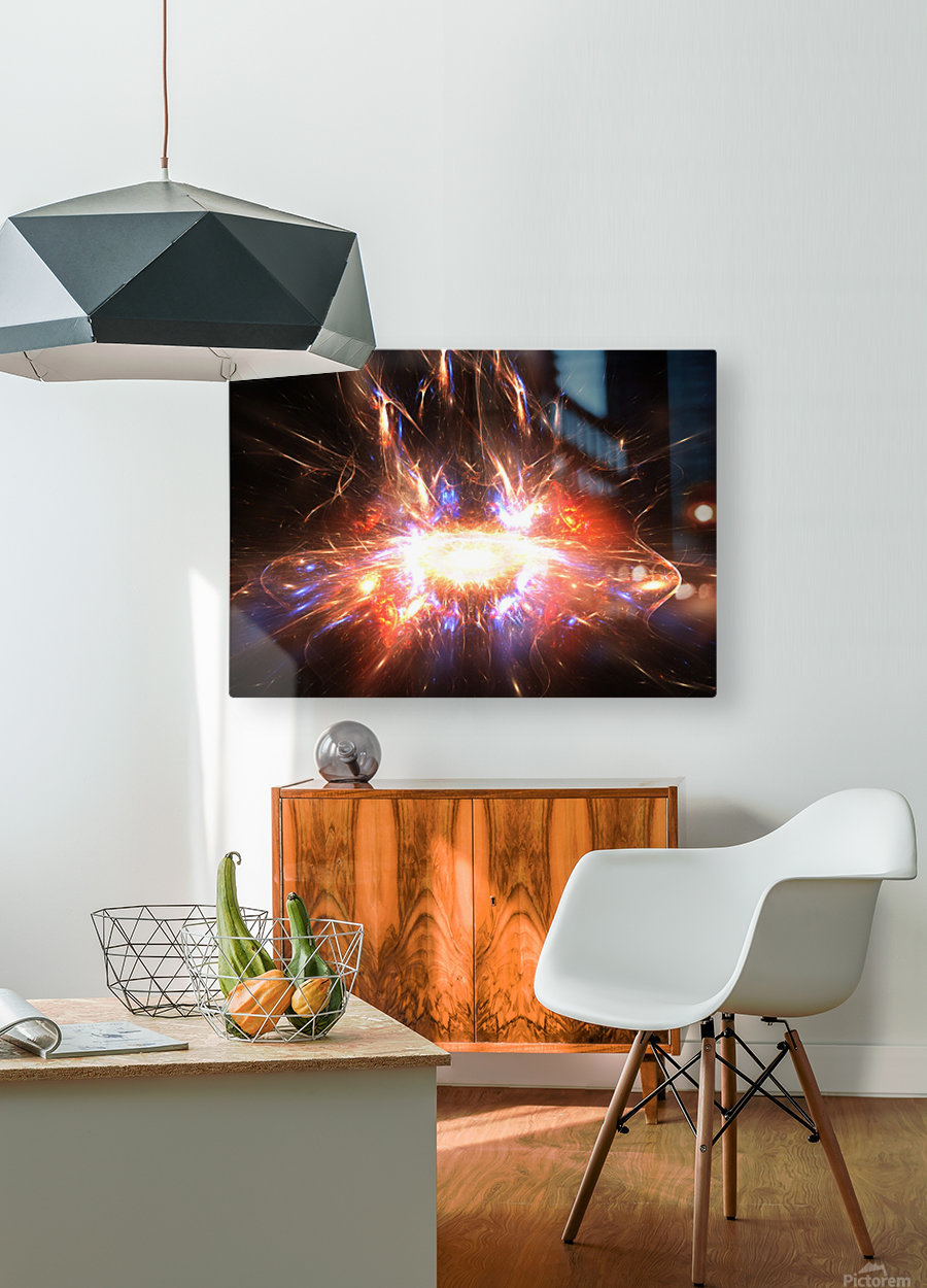 Angry galaxy e  HD Metal print with Floating Frame on Back