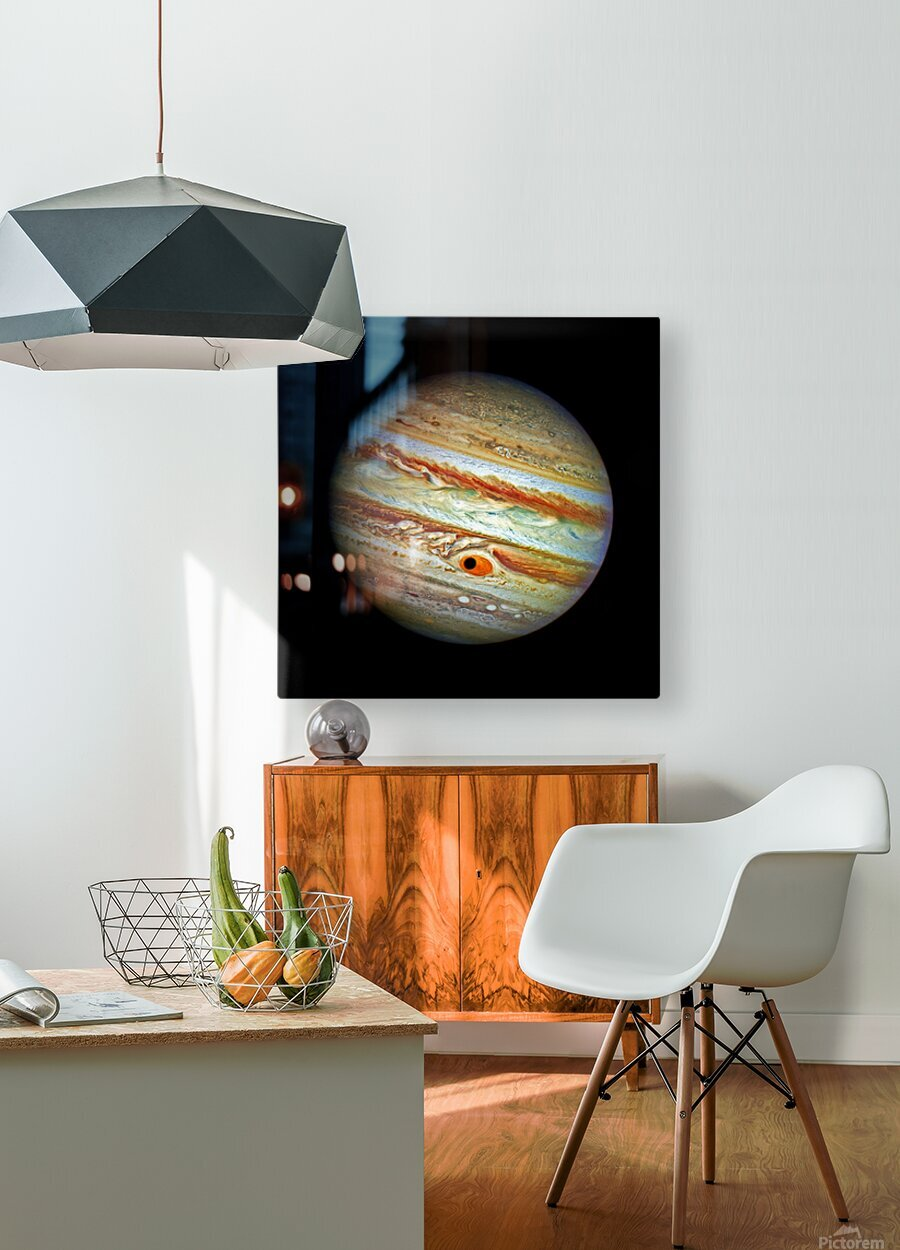 Jupiter with Ganymede Outer Space Image  HD Metal print with Floating Frame on Back