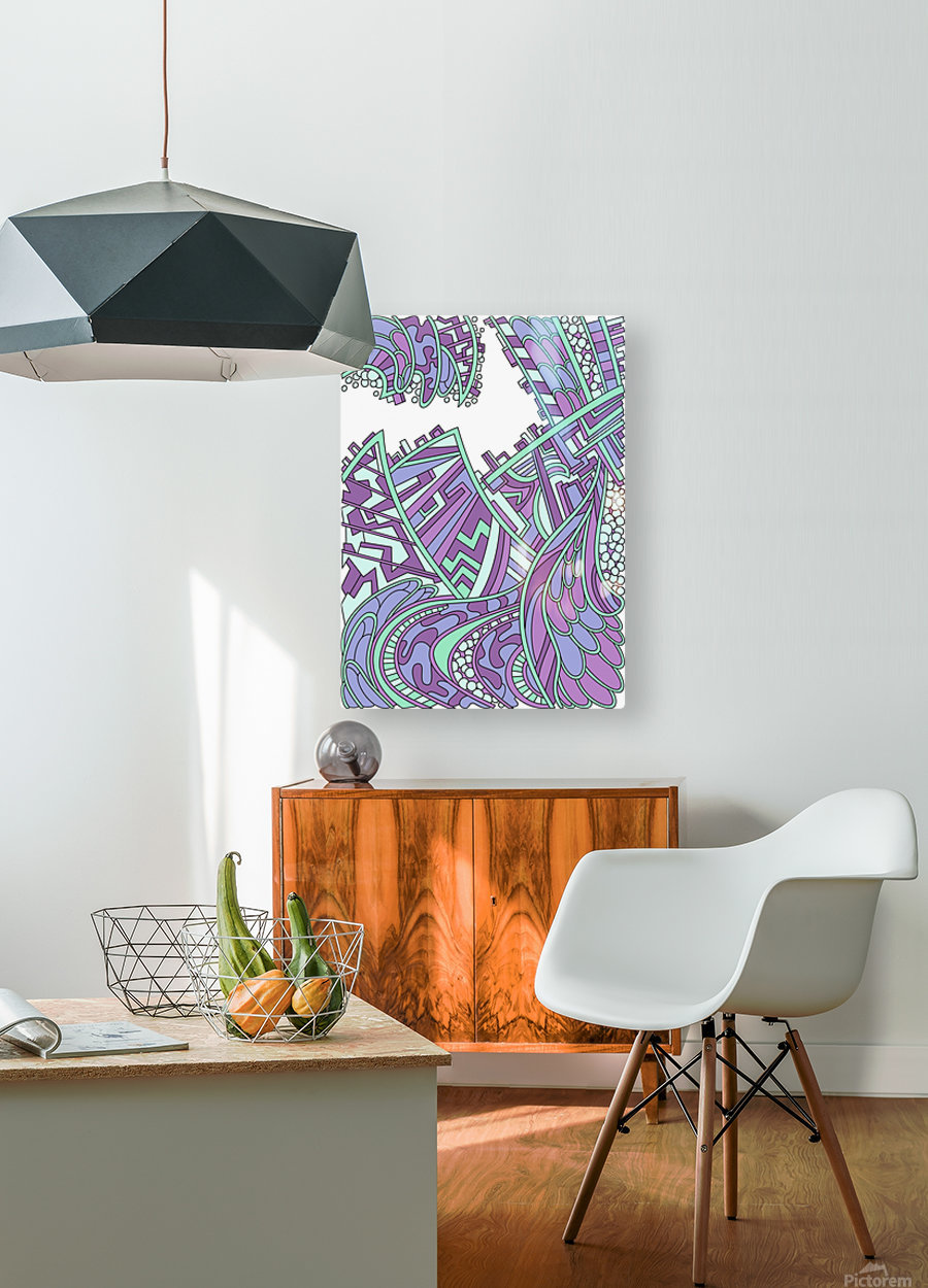 Wandering Abstract Line Art 01: Purple  HD Metal print with Floating Frame on Back