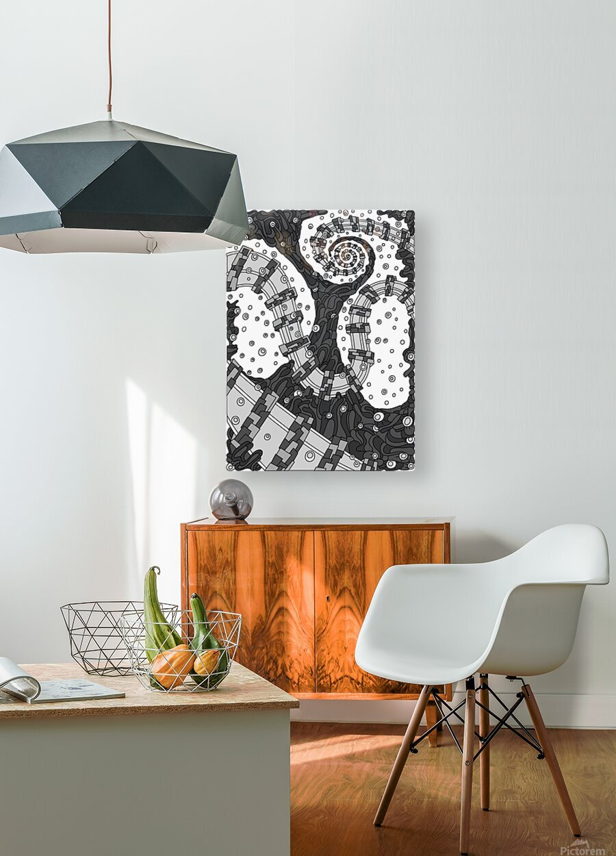 Wandering Abstract Line Art 02: Grayscale  HD Metal print with Floating Frame on Back