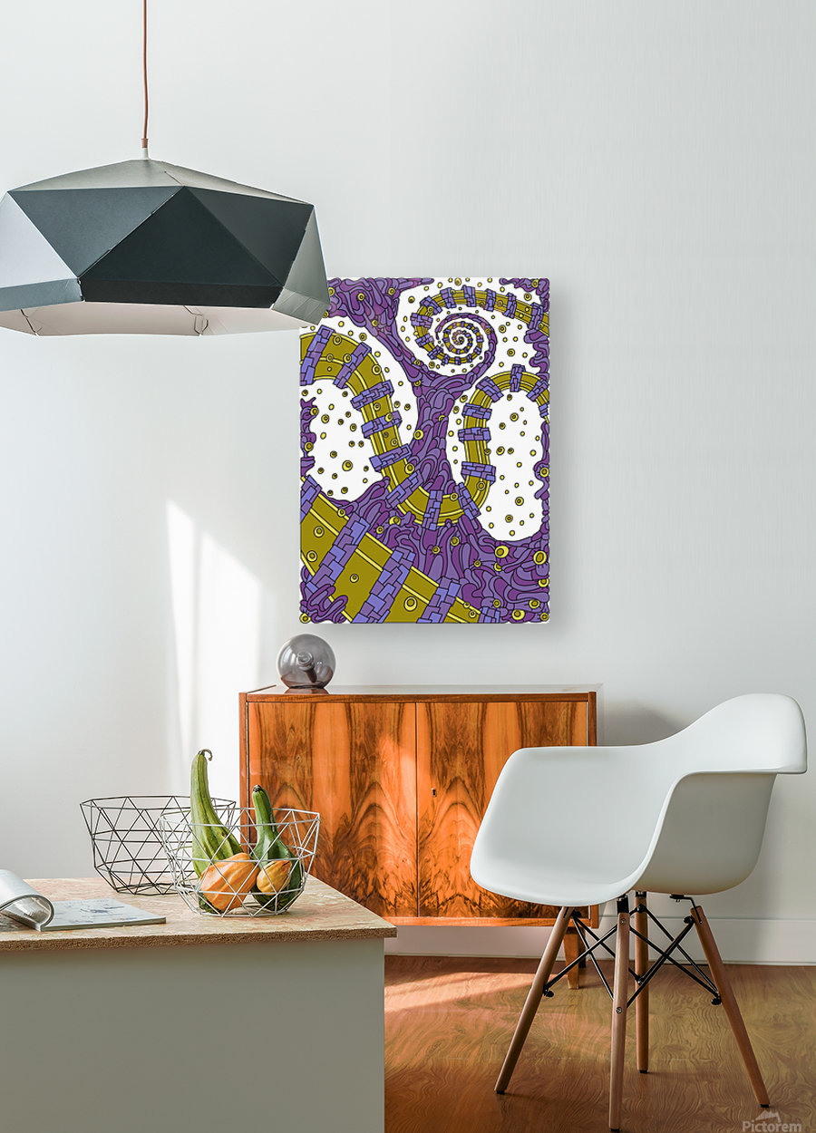 Wandering Abstract Line Art 02: Purple  HD Metal print with Floating Frame on Back