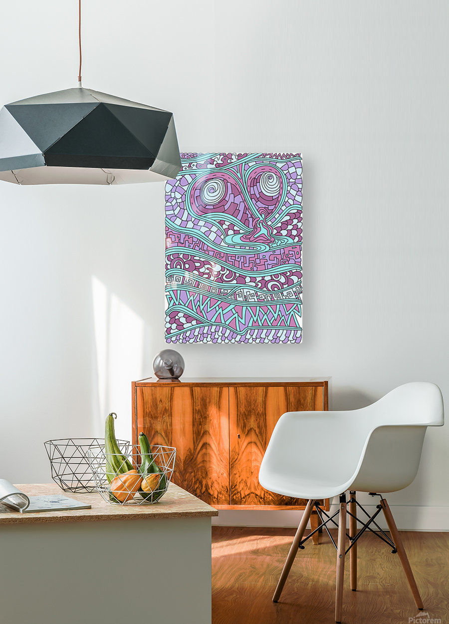 Wandering Abstract Line Art 03: Pink  HD Metal print with Floating Frame on Back