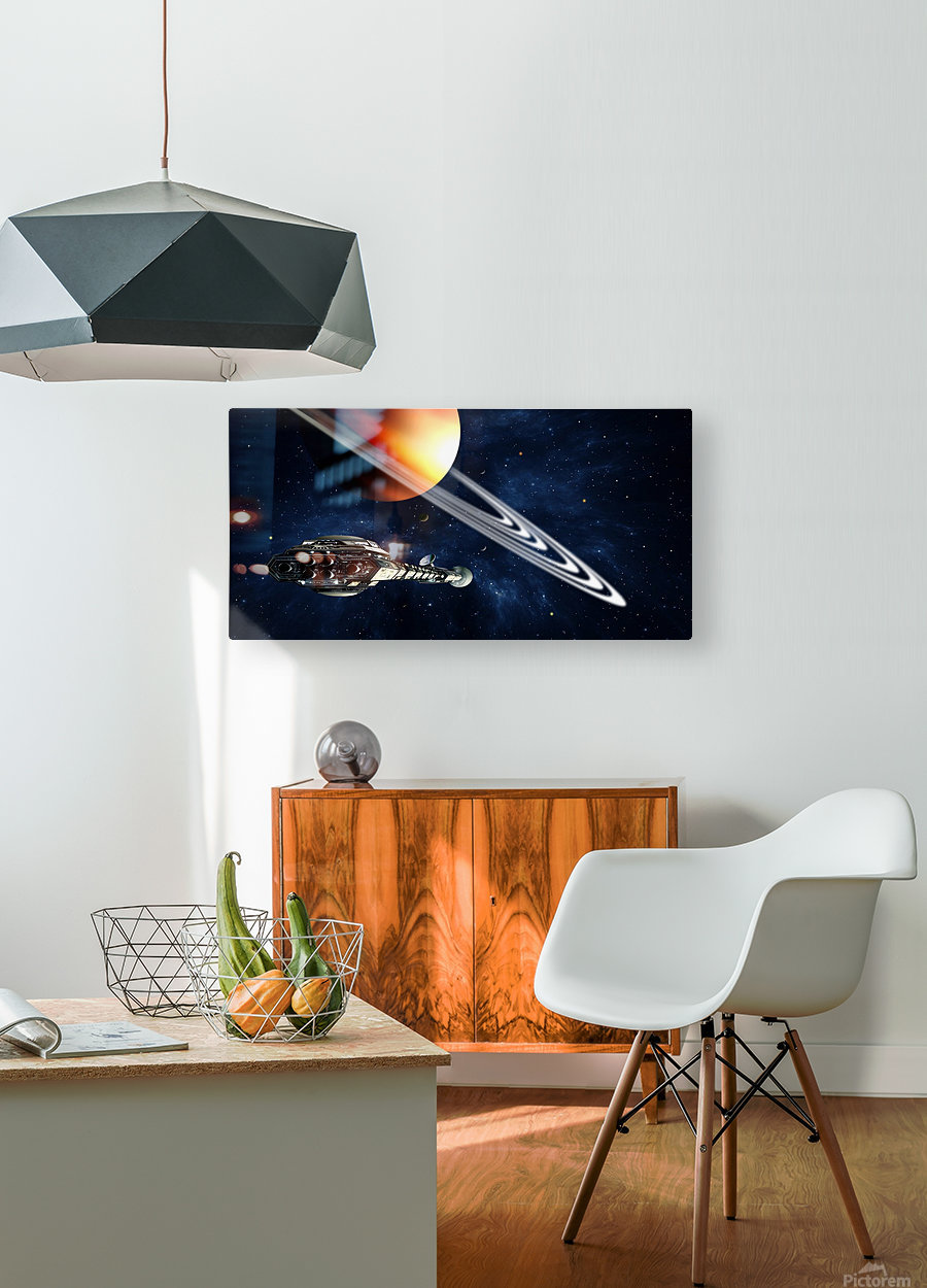 Saturn Fly-By  HD Metal print with Floating Frame on Back
