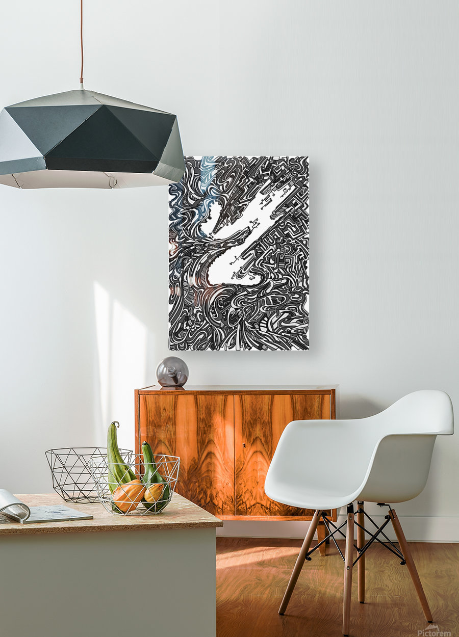 Wandering Abstract Line Art 05: Grayscale  HD Metal print with Floating Frame on Back