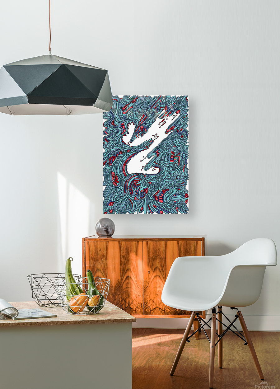Wandering Abstract Line Art 05: Blue  HD Metal print with Floating Frame on Back