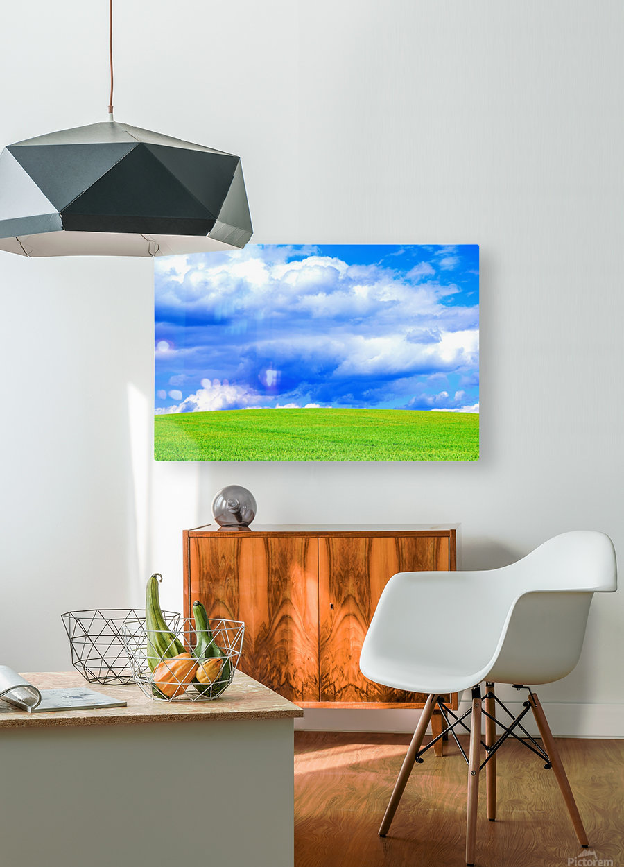 Blue Sky Clouds Field Bright Colorful Scenery Background   HD Metal print with Floating Frame on Back