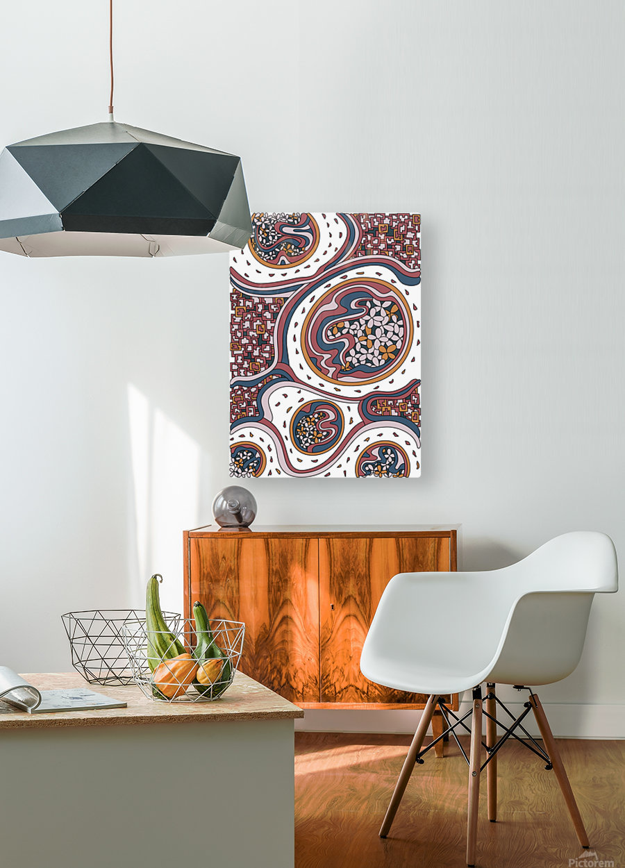 Wandering Abstract Line Art 06: Orange  HD Metal print with Floating Frame on Back