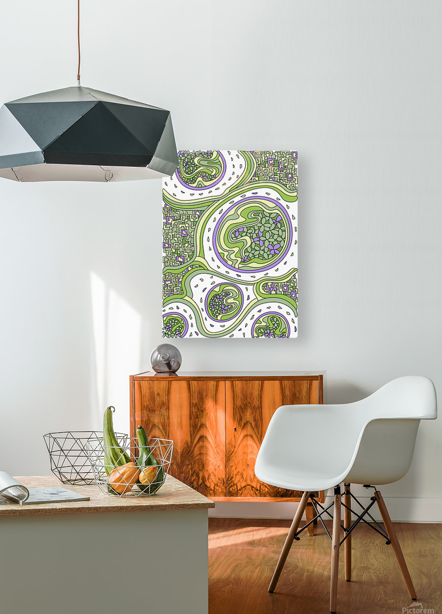 Wandering Abstract Line Art 06: Green  HD Metal print with Floating Frame on Back