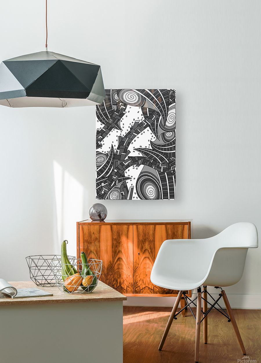 Wandering Abstract Line Art 10: Grayscale  HD Metal print with Floating Frame on Back