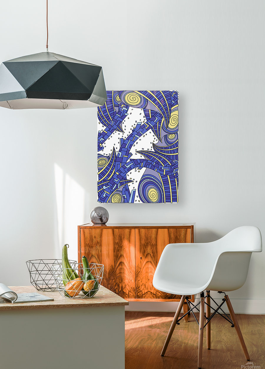 Wandering Abstract Line Art 10: Sapphire  HD Metal print with Floating Frame on Back
