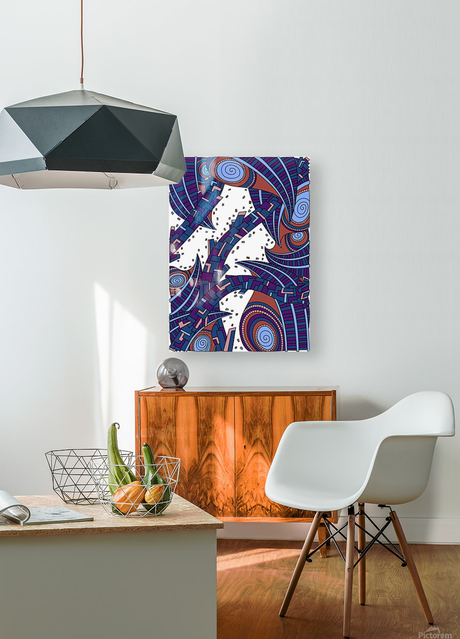 Wandering Abstract Line Art 10: Orange  HD Metal print with Floating Frame on Back