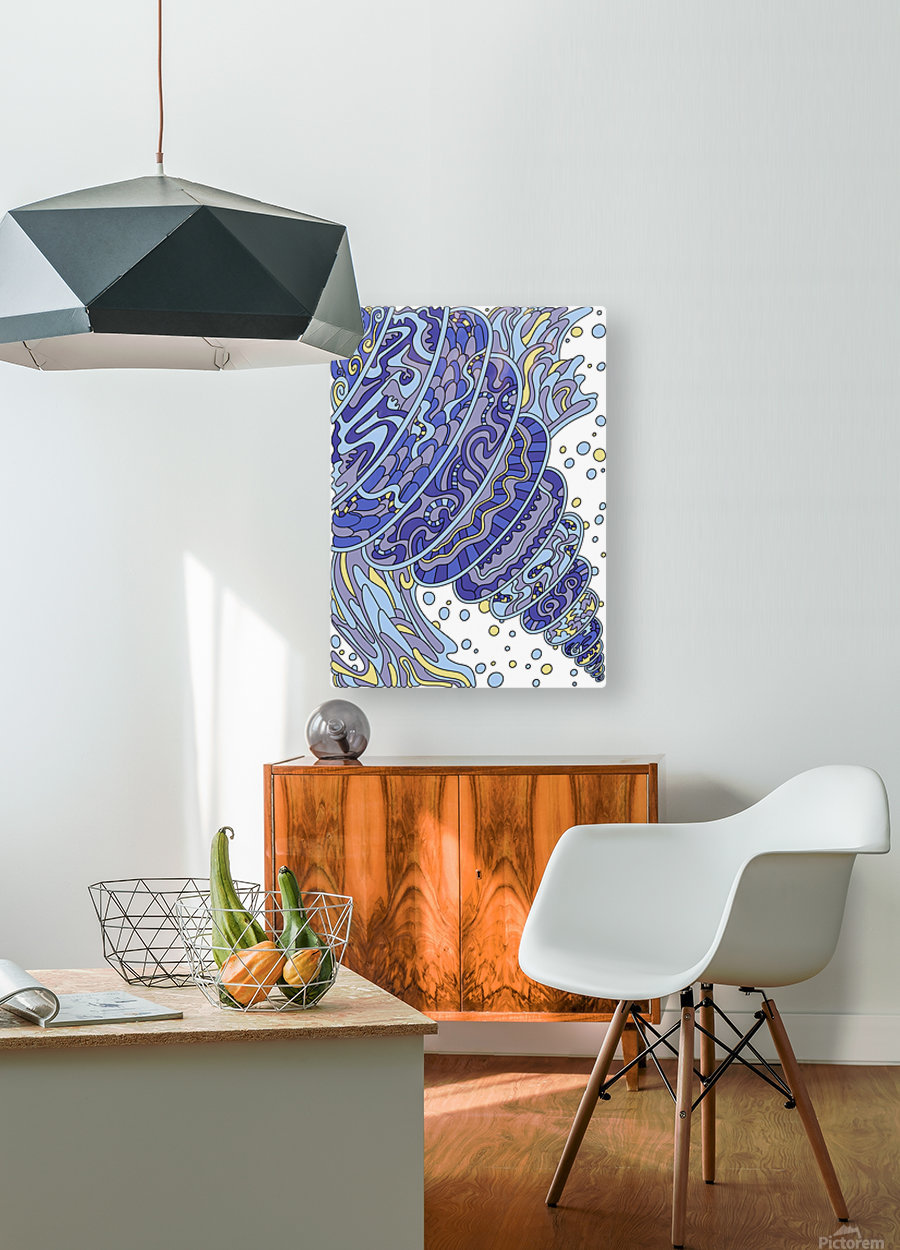Wandering Abstract Line Art 11: Blue  HD Metal print with Floating Frame on Back