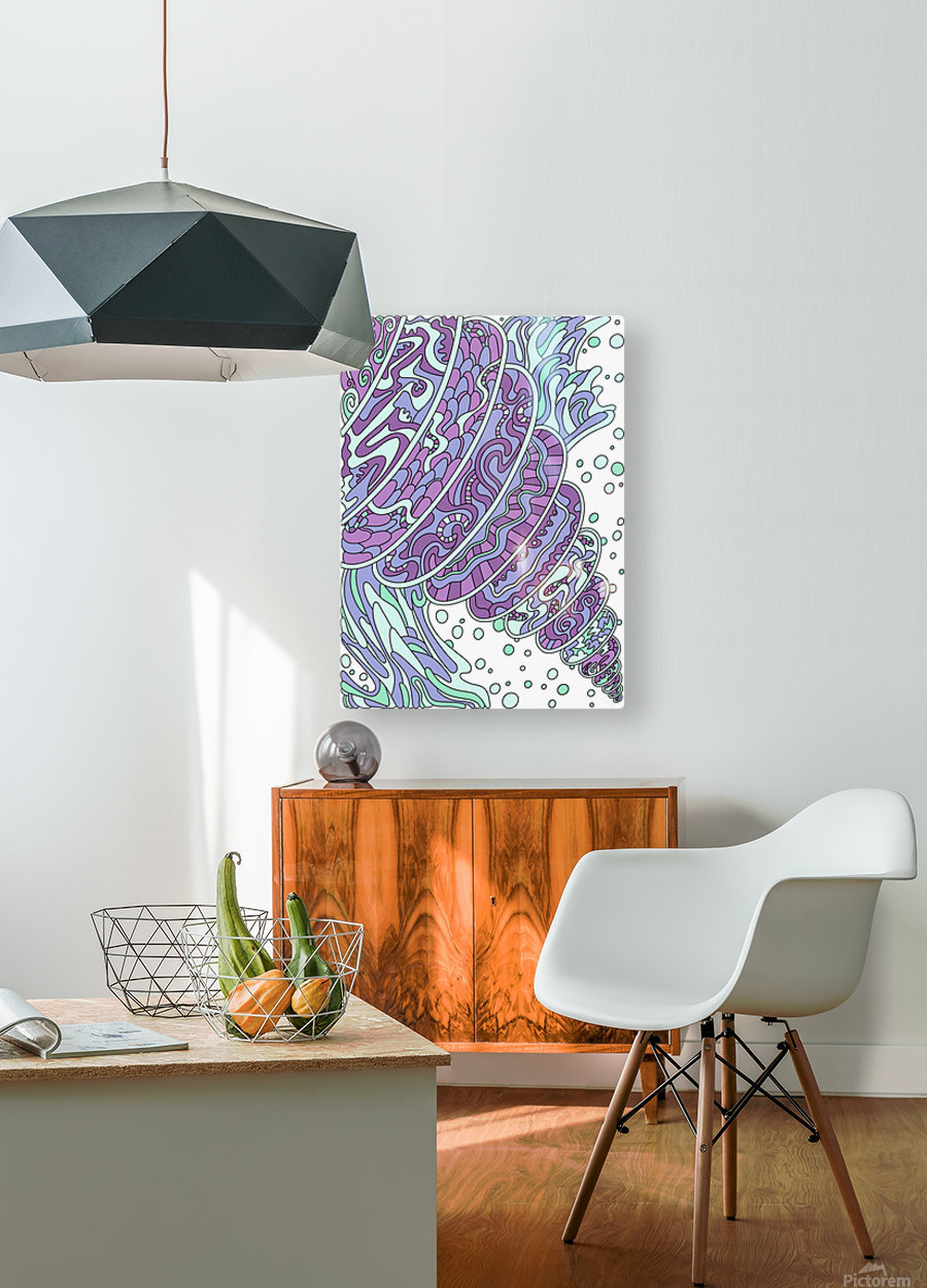 Wandering Abstract Line Art 11: Purple  HD Metal print with Floating Frame on Back