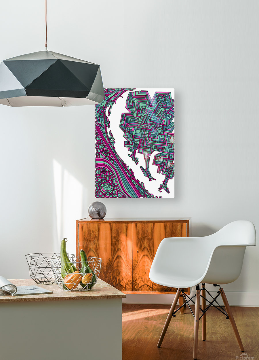 Wandering Abstract Line Art 12: Magenta  HD Metal print with Floating Frame on Back