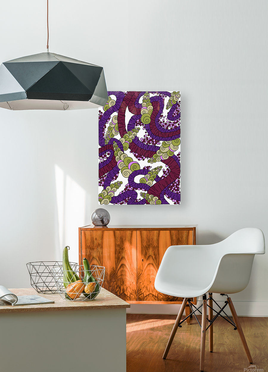 Wandering Abstract Line Art 13: Burgundy  HD Metal print with Floating Frame on Back