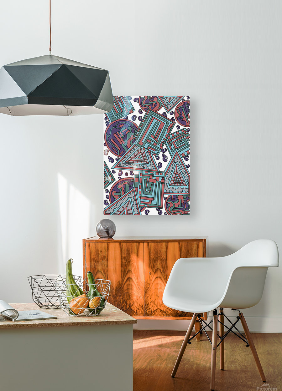Wandering Abstract Line Art 15: Blue  HD Metal print with Floating Frame on Back
