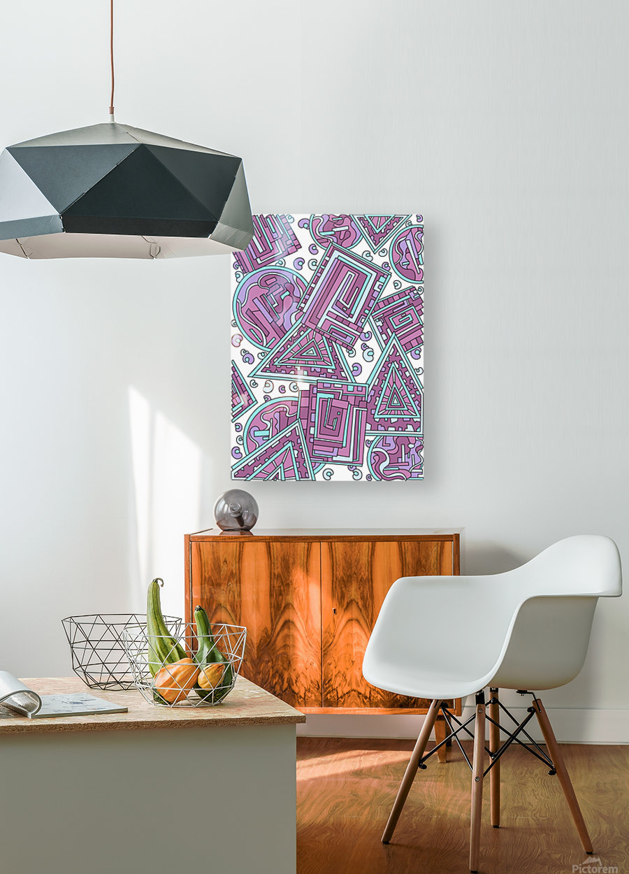 Wandering Abstract Line Art 15: Pink  HD Metal print with Floating Frame on Back