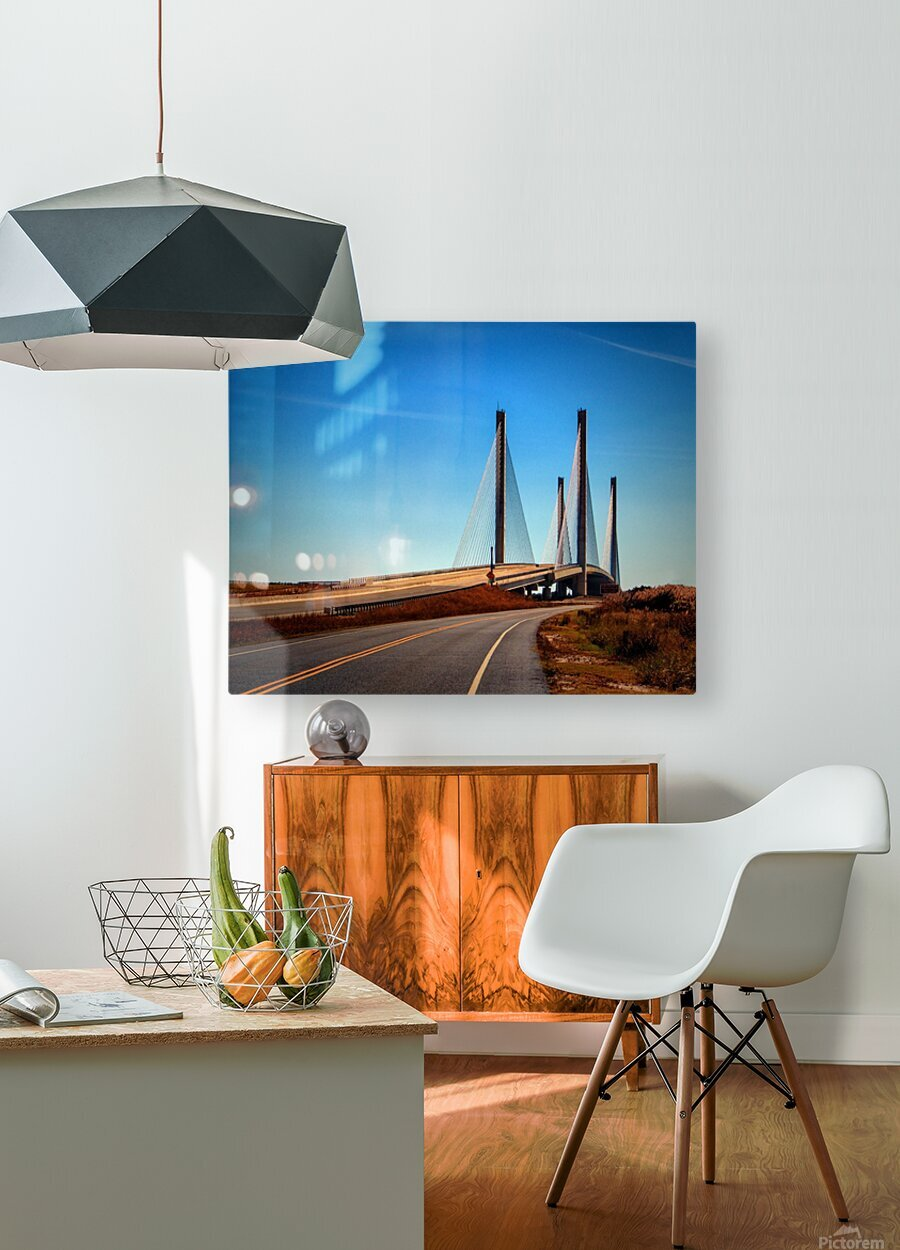 Indian River Bridge North Approach  HD Metal print with Floating Frame on Back