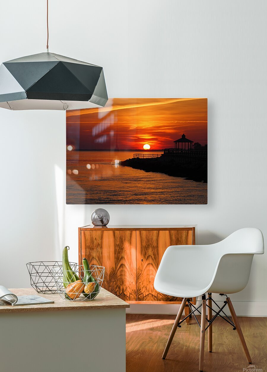 Sunset Over Indian River Inlet And Bay  HD Metal print with Floating Frame on Back
