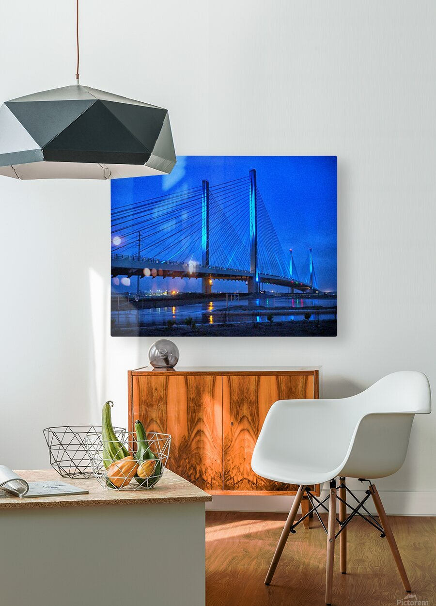 Blue Bridge In The Rain At Indian River Inlet  HD Metal print with Floating Frame on Back