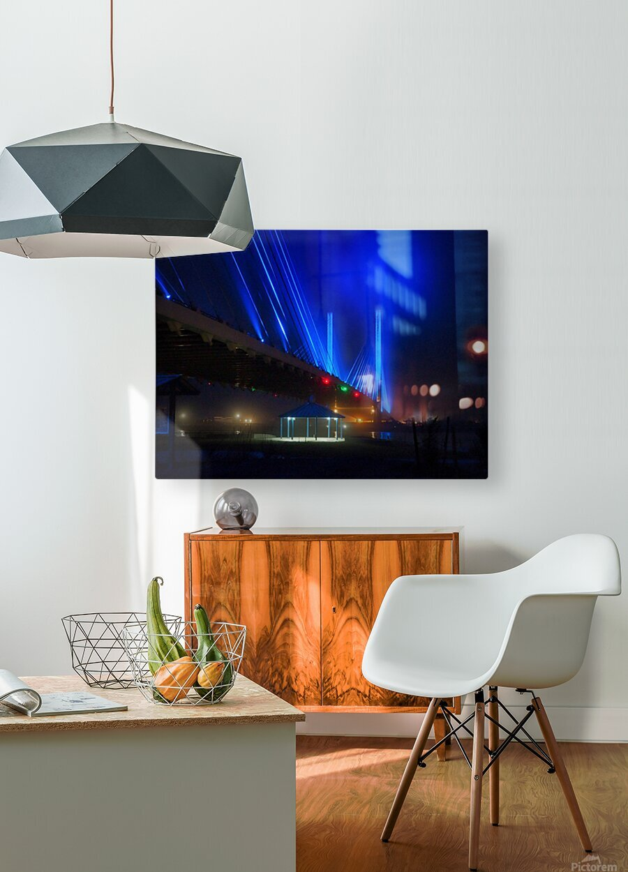 Foggy Night at the Indian River Bridge  HD Metal print with Floating Frame on Back