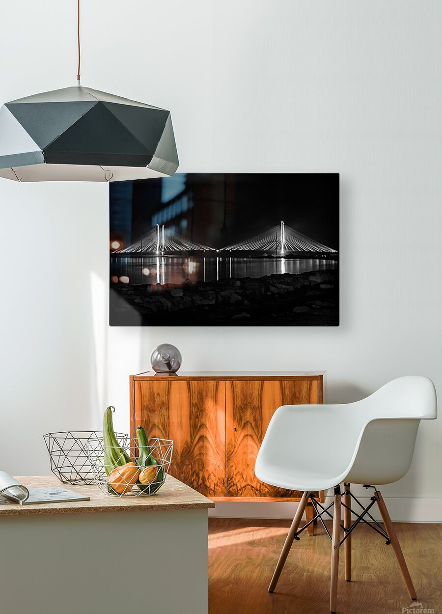 Indian River Bridge After Dark in Black and White  HD Metal print with Floating Frame on Back