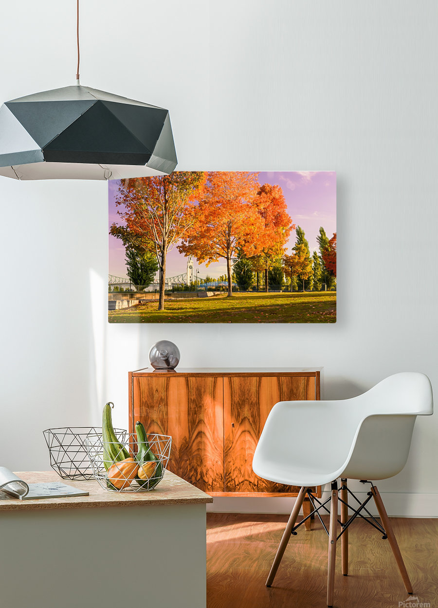 Autumn In The Old Port Of Montreal  HD Metal print with Floating Frame on Back