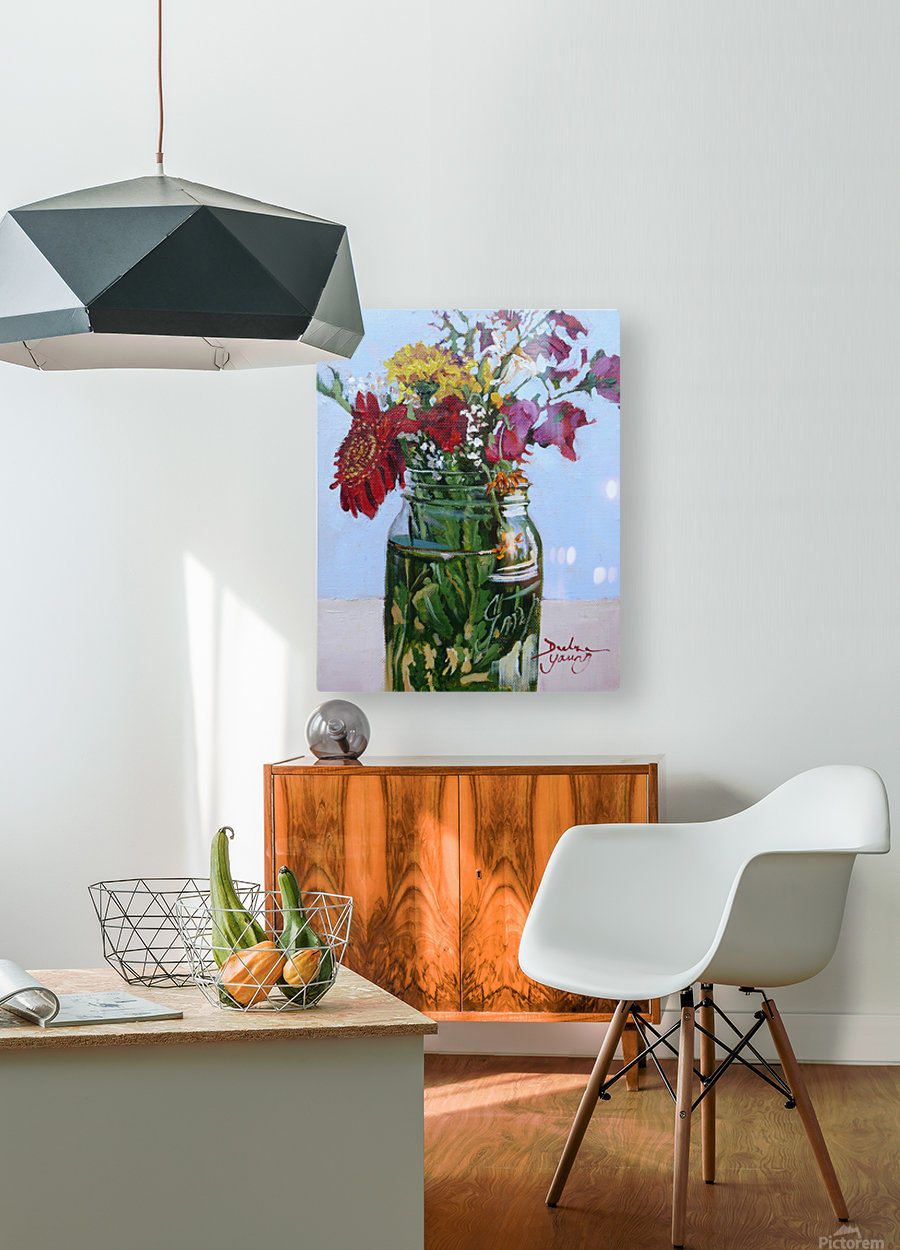 Flowers in a Mason Jar  HD Metal print with Floating Frame on Back